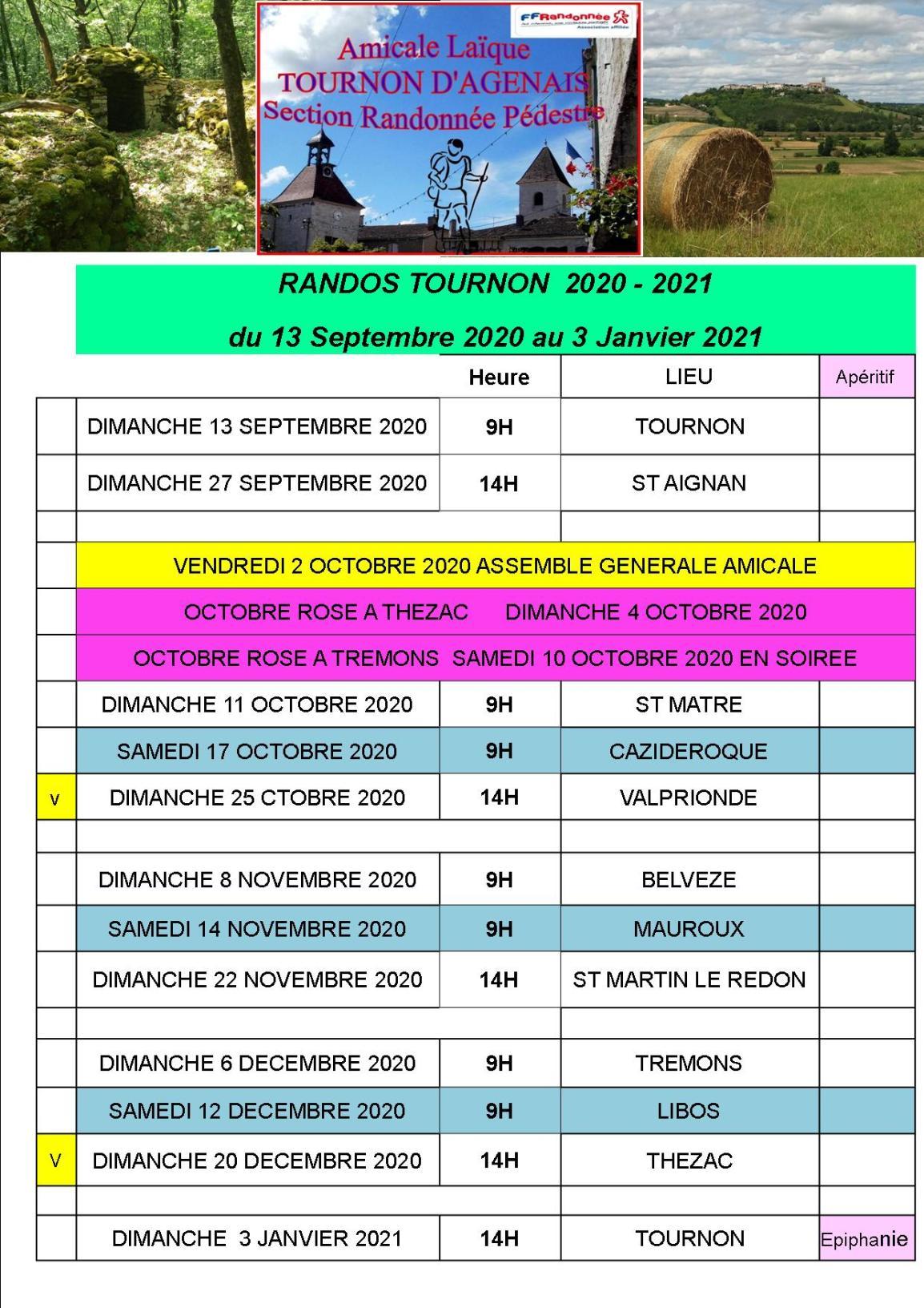 programme randos du 13 Septembre 2020 au 3 Janvier 2021