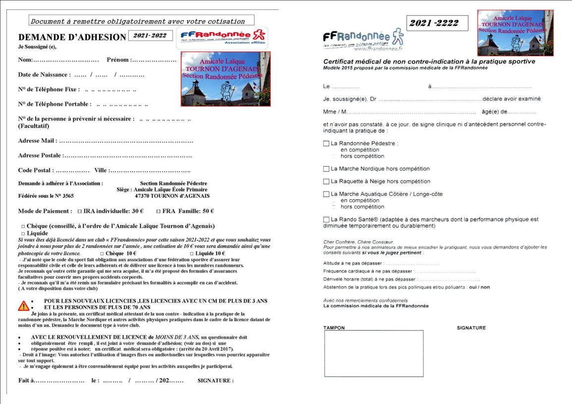 2021 2022 CM et ADHESION NOUVEAUX LICENCIES et 70 ANS Publisher - Copie