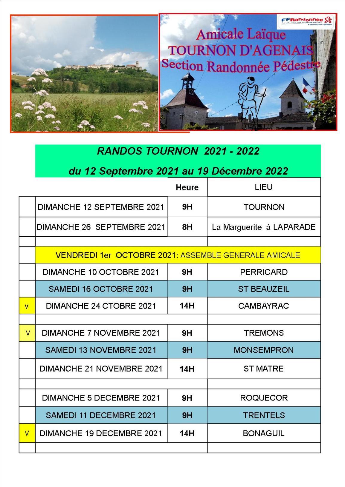 Calendrier Randos 1er Trimestre 2021 2022 - Copie